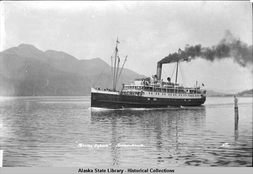 jpg Princess Sophia in Juneau - View of port side, smoke streaming from stack.