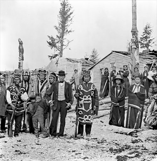jpg Inhabitants of the Tlingit village of 'Tongas', Alaska, c 1868