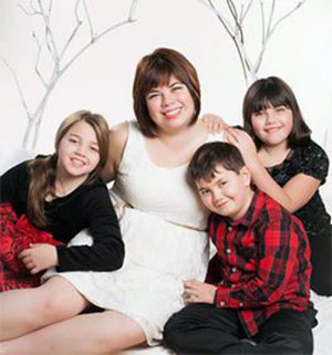 jpg Katherine Tatsuda and her three children.