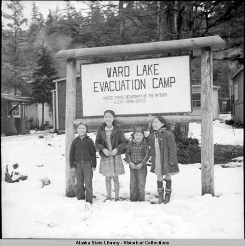 jpg World War II - 1942 Ward Lake Evacuation Camp sign and children